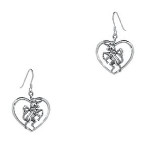Unicorn Silver Heart Drop Earrings 1023